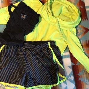 Under Armor Neon and Black Running Shorts